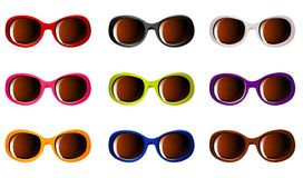 Vector sunglasses in 9 color Stock Photography