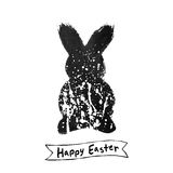 Vector: Easter card with rabbit ink brush sketch Royalty Free Stock Image