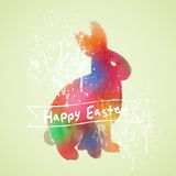 Vector: Easter card with rabbit watercolor painting Royalty Free Stock Image