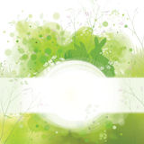 Vector Easter card , rabbits on spring nature  background. Royalty Free Stock Photography