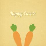 Vector Easter carrot card. Vector Easter carrot green background, realistic paper effect color cardboard background Royalty Free Stock Photos
