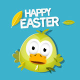 Vector Easter Chicken on Blue Background Royalty Free Stock Photos