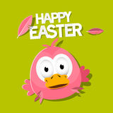 Vector Easter Chicken on Green Background Royalty Free Stock Photo