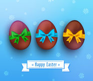 Vector easter chocolate egg with ribbon on blue. Easter chocolate egg with ribbon on blue background. Vector illustration Stock Photo