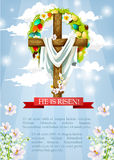 Vector Easter crucifix cross and Christ shroud. Crucifix or Easter cross with Christ shroud. He is risen heaven sky paschal poster template with egg and flower Royalty Free Stock Photo