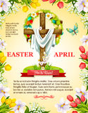 Vector Easter crucifix cross and paschal wreath. Easter poster of crucifix cross and Christ shroud, paschal eggs and wreath of spring flowers. April Resurrection Royalty Free Stock Photography