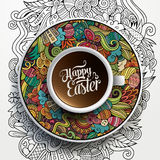Vector Easter doodles illustration with a Cup of coffee Royalty Free Stock Images