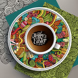 Vector Easter doodles illustration with a Cup of coffee Royalty Free Stock Photo