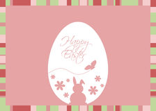 Vector Easter Egg with Greeting on a Pink Background Royalty Free Stock Photos