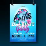 Vector Easter Egg Hunt Party Flyer Illustration with flowers in cutting egg silhouette and typography elements on nature Stock Photography