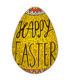 Vector Easter egg lettering, decorated. Happy easter card, banner, hand drawn illustration. Stock Image
