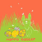 Vector Easter eggs and bunny Stock Image