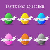 Vector easter eggs collection. With paper text ribbons stock illustration
