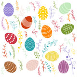 Vector easter eggs and floral elements Stock Image