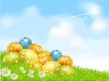 Vector Easter eggs on a green field with daisies. And a blue sky Stock Images