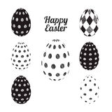 Vector easter eggs set. 3D Vector easter eggs set with dots geometric design and rhombus black and white. Happy Easter set, card Stock Image