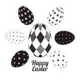 Vector easter eggs set. 3D Vector easter eggs set with dots geometric design and rhombus black and white. Happy Easter set, card Stock Photos