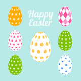 Vector easter eggs set. 3D Vector easter eggs set with dots geometric design and rhombus colorful. Happy Easter set, card vector illustration
