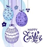 Vector Easter festive background. With decorative eggs and flowers. Happy Easter lettering. Doodle easter eggs with stripes, dots, flowers, waves. Vintage card Royalty Free Stock Photo