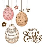 Vector Easter festive background with decorative eggs. And flowers. Happy Easter lettering. Doodle easter eggs with stripes, dots, flowers, waves. Vintage card Stock Photos