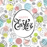 Vector Easter festive background with egg shape frame. And colorful confetti, Happy Easter lettering. Doodle easter eggs with stripes, dots, flowers, leaves Stock Image