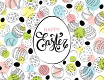 Vector Easter festive background with egg shape frame. And colorful confetti, Happy Easter lettering. Doodle easter eggs with stripes, dots, flowers, leaves Royalty Free Stock Photography