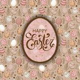 Vector Easter festive background with egg. Shape frame, colorful eggs, flowers, branches, berries. Happy Easter lettering. Doodle easter eggs with stripes, dots Royalty Free Stock Photos