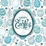 Vector Easter festive background with egg shape frame. Colorful eggs, flowers, branches, berries. Happy Easter lettering. Doodle easter eggs with stripes, dots Stock Photos