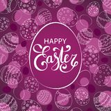 Vector Easter festive background with egg. Shape frame. Happy Easter lettering. Doodle easter eggs with stripes, dots, flowers, leaves Royalty Free Stock Photography