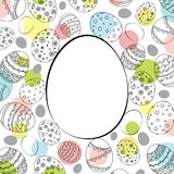 Vector Easter festive background with egg shape frameand colorf. Vector Easter festive background with egg shape frame and colorful confetti. Doodle easter eggs Stock Images