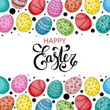 Vector Easter festive background with eggs. Vector Easter festive background with frame of colorful eggs, confetti, Happy Easter lettering. Doodle easter eggs Royalty Free Stock Photo