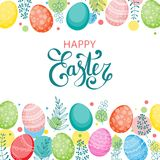 Vector Easter festive background. With frame of colorful eggs, confetti, flowers, leaves, berries and branches. Happy Easter lettering. Doodle easter eggs with Royalty Free Stock Images