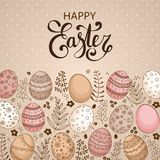 Vector Easter festive background with frame of colorful eggs. Confetti, flowers, leaves, berries and branches. Happy Easter lettering. Doodle easter eggs with Royalty Free Stock Images