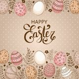 Vector Easter festive background with frame of colorful eggs. Confetti, flowers, leaves, berries and branches. Happy Easter lettering. Doodle easter eggs with Stock Image
