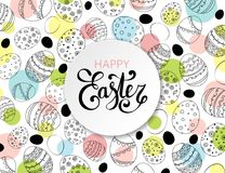 Vector Easter festive background with paper circle frame. And colorful confetti, Happy Easter lettering. Doodle easter eggs with stripes, dots, flowers, leaves Stock Photos