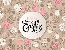 Vector Easter festive background. With round paper frame and colorful confetti, Happy Easter lettering. Doodle easter eggs with stripes, dots, flowers, leaves Royalty Free Stock Photo