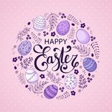 Vector Easter festive background. With round shape frame of eggs, leaves, berries, branches. Happy Easter lettering. Doodle easter eggs with stripes, dots Royalty Free Stock Image