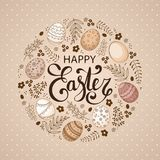 Vector Easter festive background with round shape frame of eggs. Leaves, berries, branches. Happy Easter lettering. Doodle easter eggs with stripes, dots Royalty Free Stock Photo