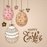 Vector Easter festive background. With decorative eggs and flowers. Happy Easter lettering. Doodle easter eggs with stripes, dots, flowers, waves. Vintage card Stock Photo