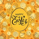 Vector Easter festive background. With egg shape frame. Happy Easter lettering. Doodle easter eggs with stripes, dots, flowers, leaves Royalty Free Stock Photography