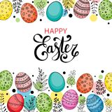 Vector Easter festive background. With frame of colorful eggs, confetti, flowers, leaves, berries and branches. Happy Easter lettering. Doodle easter eggs with Stock Image