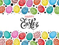 Vector Easter festive background. With frame of colorful eggs, confetti, Happy Easter lettering. Doodle easter eggs with stripes, dots, flowers, leaves. Spring Royalty Free Stock Photography