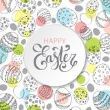 Vector Easter festive background. With paper circle frame and colorful confetti, Happy Easter lettering. Doodle easter eggs with stripes, dots, flowers, leaves Stock Images