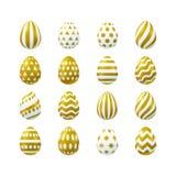 Vector Easter golden eggs set. Vector illustration, big set of 3d Easter golden eggs. Eps 10 file Stock Photography