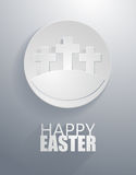 Vector: easter gray cross circle icons with paper cut style Stock Photos