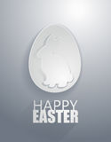 Vector: easter gray rabbit icons with paper cut style Stock Photos