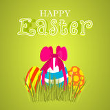 Vector Easter greeting card. Easter colored eggs with a bow. Stock Images