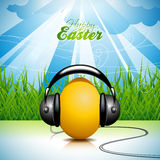 Vector Easter holiday Illustration with painted egg and headphone on springl background. Stock Image