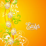 Vector Easter holiday Illustration with painted eggs on floral background. Royalty Free Stock Images