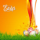 Vector Easter holiday Illustration with painted eggs on floral background. Stock Photos
